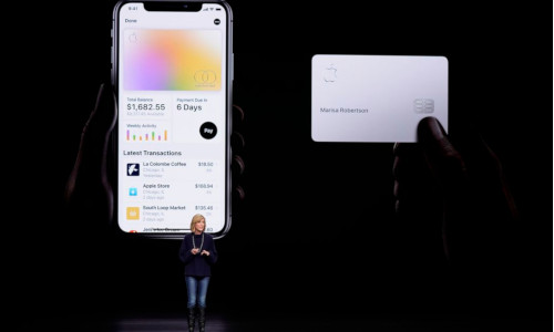 Jennifer Bailey, vice president of Apple Pay, speaks about the Apple Card at the Steve Jobs Theater in Cupertino, CA.